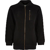 Boys black soft bomber jacket