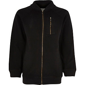 Boys black soft bomber jacket