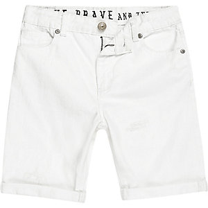 Boys white slim fit denim Dylan shorts