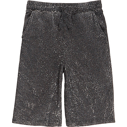 Boys dark grey acid wash shorts