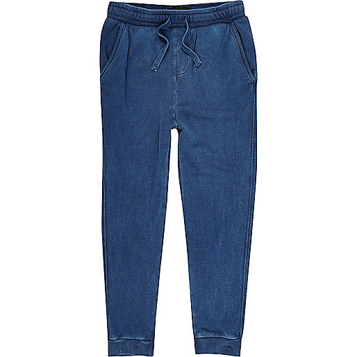 Boys navy blue washed joggers