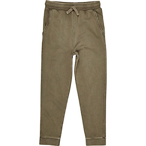 Boys khaki green washed joggers