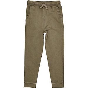 Pantalon de jogging vert kaki délavé pour garçon