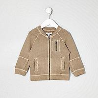 Mini boys beige utility bomber jacket