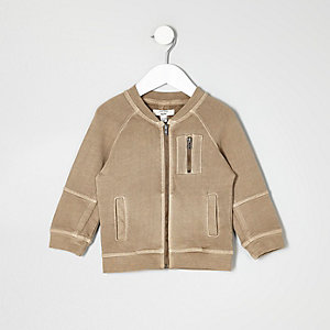 Mini boys beige utility bomber jacket