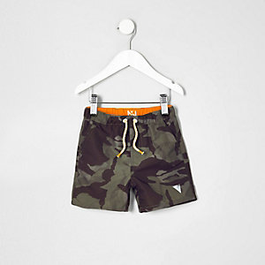 Mini boys khaki green camo swim trunks