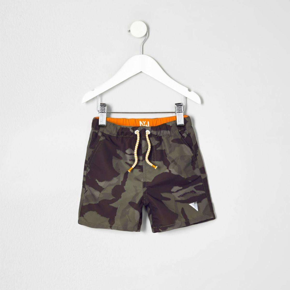 Mini boys khaki green camo swim shorts