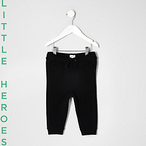 Mini boys black jersey joggers
