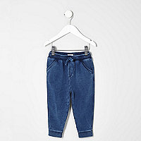 Mini boys navy washed jogger