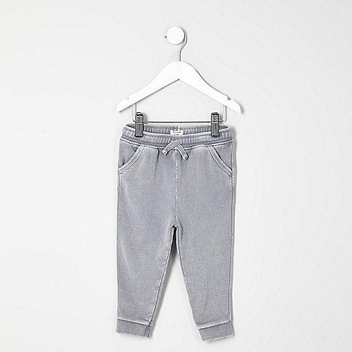 Mini boys grey washed joggers