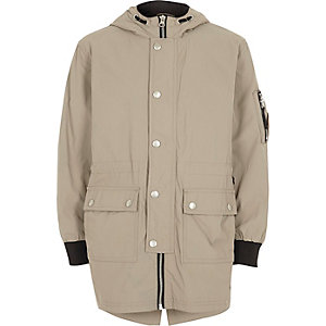 Boys stone lightweight parka coat