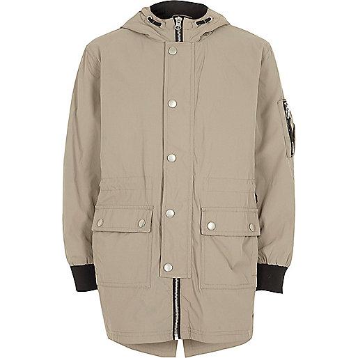 Boys stone lightweight parka coat