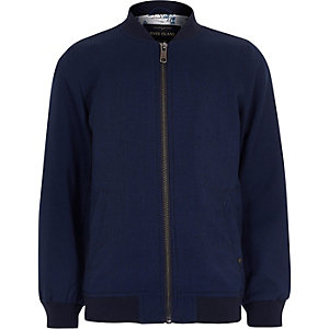 Boys blue smart textured bomber jacket