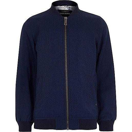 Boys blue smart textured bomber jacket