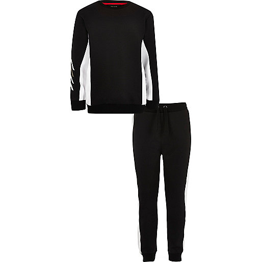 Boys black block sweatshirt and joggers