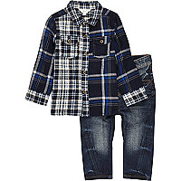 Mini boys blue mixed check shirt jeans set