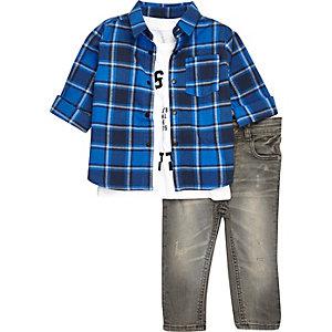 Chemise à carreaux, t-shirt et jean mini garçon