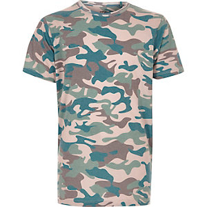 T-shirt motif camouflage vert kaki pour garçon