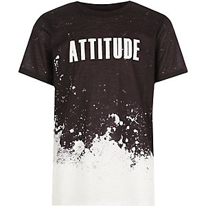Boys black splatter print T-shirt