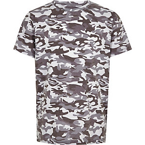 Boys grey camo print T-shirt