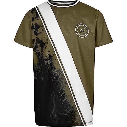 Boys khaki green spliced print T-shirt