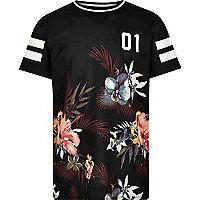 T-Shirt aus schwarzem Mesh mit Blumenmuster