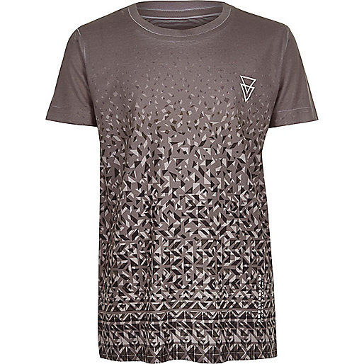 Boys grey faded print T-shirt