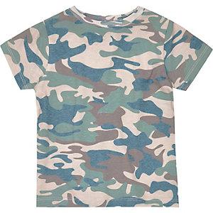 Kaki T-shirt met camouflageprint voor mini boys