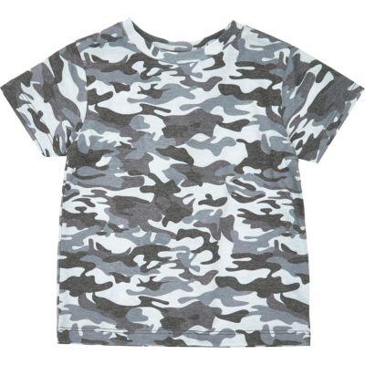 Blauw T-shirt met camouflage print voor mini boys