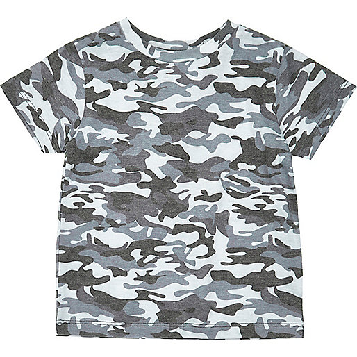 Mini boys blue camo print T-shirt