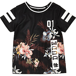 Mini boys black floral mesh T-shirt