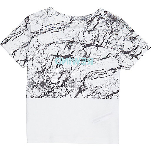 Mini boys white block print T-shirt