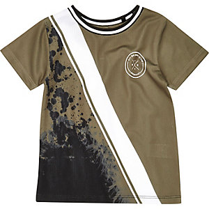 Mini boys khaki green spliced print T-shirt