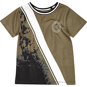 Mini boys khaki green spliced print T-shirt