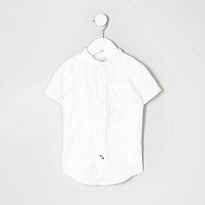 Mini - Oxford wit overhemd zonder kraag voor jongens