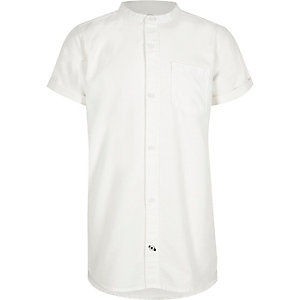 Boys white grandad colllar short sleeve shirt