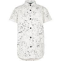 Boys white paint splatter short sleeve shirt