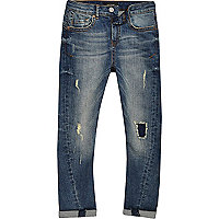 Boys blue Chester ripped skinny tapered jeans