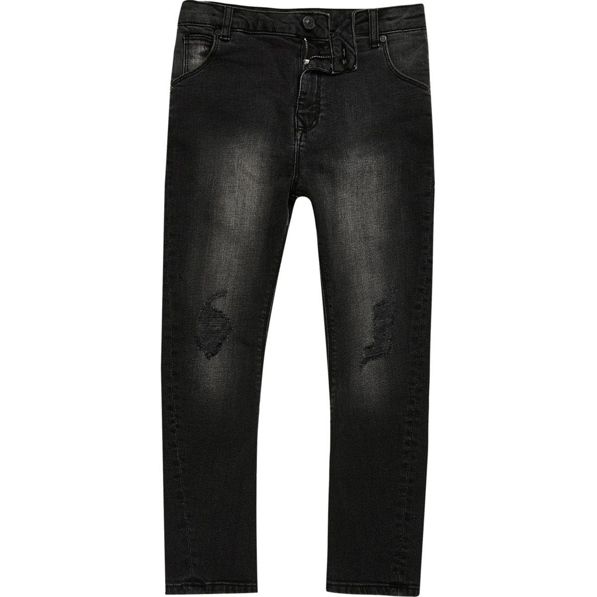 Boys black wash skull slouch fit Tony jeans