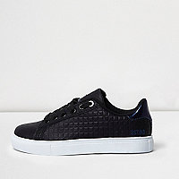 Boys black textured trainers