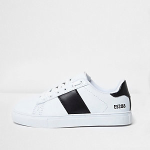 Boys white faux leather black stripe sneakers