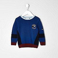 Mini boys blue block knit jumper