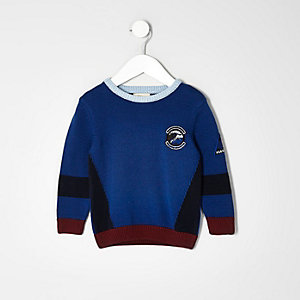 Mini boys blue block knit jumper