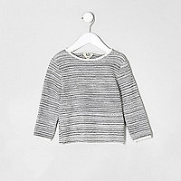 Mini boys ecru textured rolled neck jumper