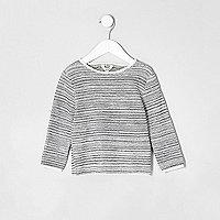 Mini boys ecru textured rolled neck sweater