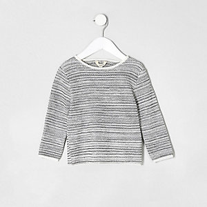 Mini boys ecru textured rolled neck sweater