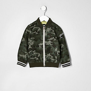 Mini boys khaki camo print bomber jacket
