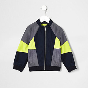 Mini boys grey colour block bomber jacket