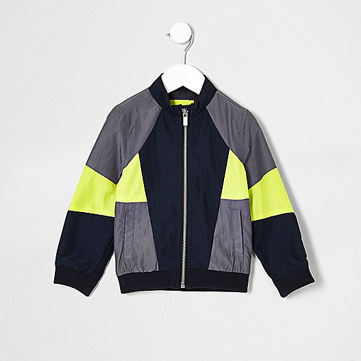 Mini boys grey color block bomber jacket