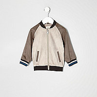 Mini boys suede look raglan bomber jacket
